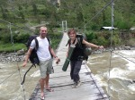 @Trek-Papua, Pietter and Marine on the Suspention bridge-south esast of Baliem Valley