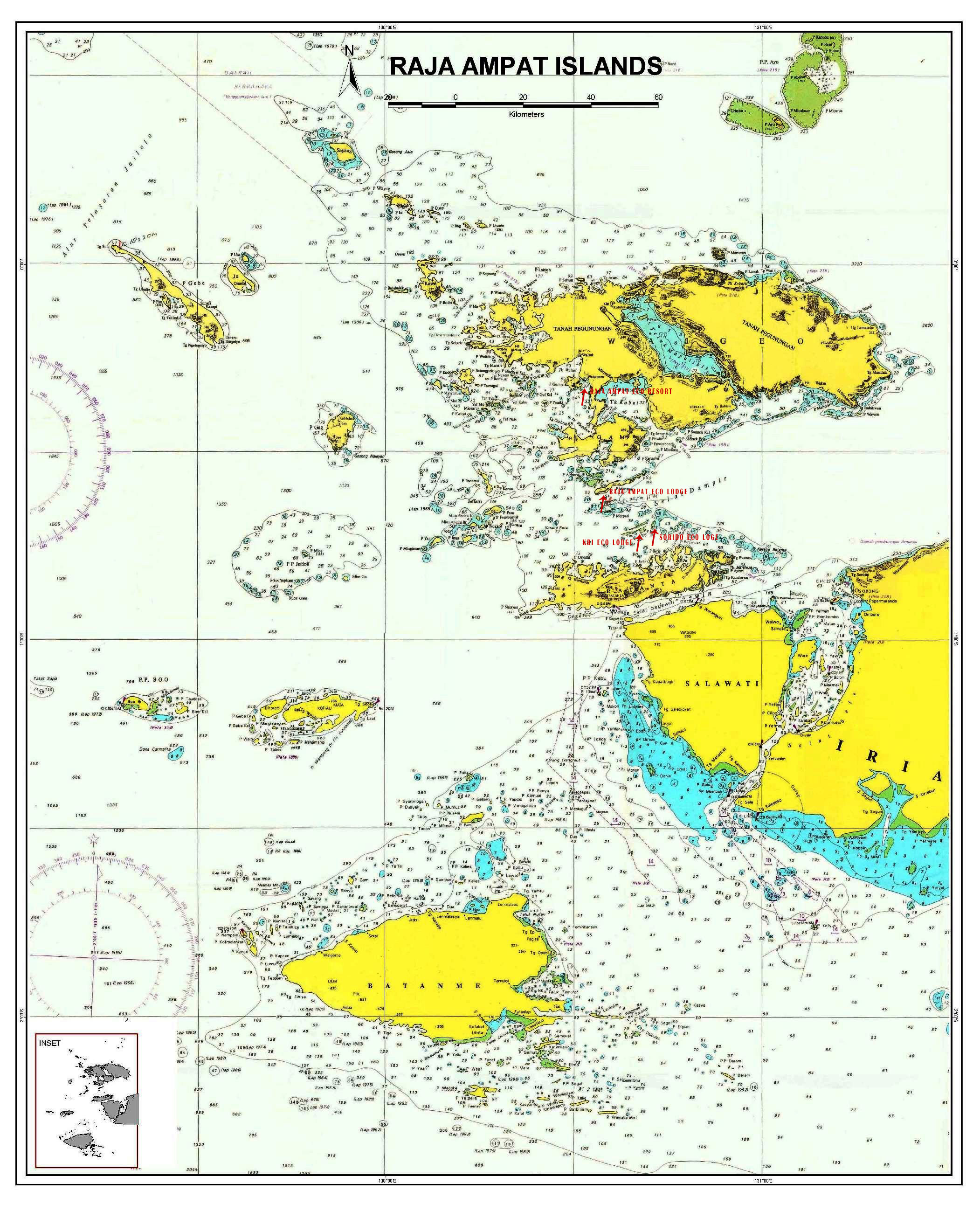 Kri Island Sorong Map Indonesia